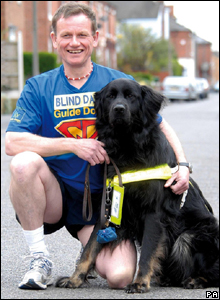 Dave Heeley and his guide dog Wicksie did the race as a warm up. Dave, 49, is planning to run seven marathons in seven days next year.